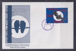 Tonga 1990 Airmail Express, Owl FDC - Birds