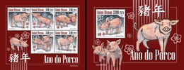 Guinea Bissau 2019, Year Of The Pig, 5val In BF +BF - Astrology