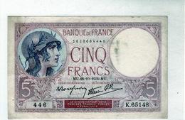 "Billet De 5 Francs (violet)""type 1917 Modifié - Le 26-10-1939 En T T B ++ - - 1871-1952 Antiguos Francos Circulantes En El XX Siglo"