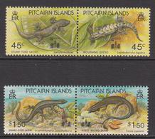 1994 Pitcairn Island Lizards Reptiles HONG KONG Overprints Complete Set Of  2 Pairs MNH - Pitcairn Islands