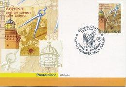 ITALIA - FDC MAXIMUM CARD 2004 - GENOVA CAPITALE EUROPEA DELLA CULTURA - ANNULLO SPECIALE - Maximumkarten (MC)