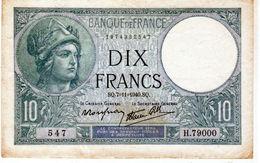 """Billet De 10 Francs (minerve)""""type 1915 Modifié - Le 7-11-1940 En T T B + - - 1871-1952 Antiguos Francos Circulantes En El XX Siglo"""