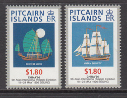 1996 Pitcairn Island China Stamp Show Ships Complete Set Of  2 MNH - Pitcairn Islands