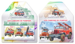 DJIBOUTI 2019 MNH Fire Engines Feuerwehr Fahrzeuge Camions De Pompiers M/S+S/S - OFFICIAL ISSUE - DH1919 - Sapeurs-Pompiers