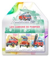 DJIBOUTI 2019 MNH Fire Engines Feuerwehr Fahrzeuge Camions De Pompiers M/S - IMPERFORATED - DH1919 - Sapeurs-Pompiers
