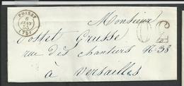 Seine Et Oise , Poissy , Cachet Type 15 Du 6 Janvier 1855 Taxe 30 Double Trait - Poststempel (Briefe)