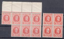 BELGIË - OBP -  1922 - Nr 199 Nuance (Blok/Bloc 7+4) - MNH** - 1922-1927 Houyoux