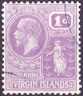 BRITISH VIRGIN ISLANDS 1927KGV 1d Bright VioletSG88FU - British Virgin Islands