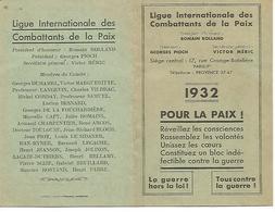 Carte D'adhérant 1932    Ligue Internationale Des Combattants De La Paix - Unclassified