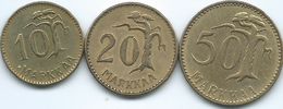 Finland - 10 Markkaa - 1956 (KM38) 20 Markkaa - 1964 (KM39) & 50 Markkaa - 1961 (KM40) - Finland