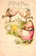 Ostern, Kämpfende Eier, Trachtenkleidung, 1902 - Ostern