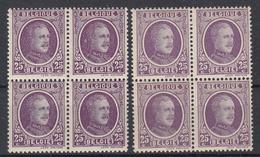 BELGIË - OBP -  1922 - Nr 198 Nuance (Blok/Bloc 4 > 4** Met Halo + 4 > 4** ) - 1922-1927 Houyoux