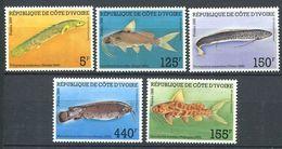 244 COTE IVOIRE 1986 - Yvert 763/67 - Poisson - Neuf ** (MNH) Sans Trace De Charniere - Ivory Coast (1960-...)