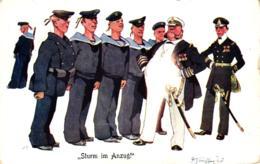 """Militär, Matrosen, """"Sturm Im Anzug"""", Sign. Schönpflug, Um 1910 - Schönpflug, Fritz"""