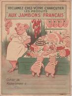 """ANCIEN PROTEGE CAHIER """"COCHON"""" - """" AUX JAMBONS FRANCAIS """" / Classe, école, écoliers / Aisne - Book Covers"""