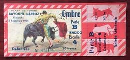 Ticket D'entrée Non Utilisé. Corrida. Plaza De Torros. Bayonne-Biarritz. 5 Septembre 1965. - Tickets D'entrée