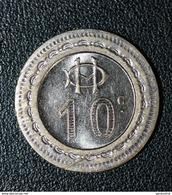 """Jeton De Jeu De Comptoir De Bistrot Parisien """"10c / Monogramme HD"""" Monnaie De Nécessité - Paris Game Token - Monétaires / De Nécessité"""
