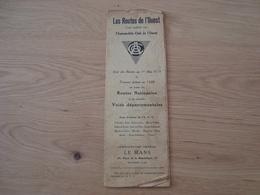 CARTE ROUTIERE DAS LES ROUTES DE L'OUEST AUTOMOBILE-CLUB 1 MAI 1928 - Roadmaps