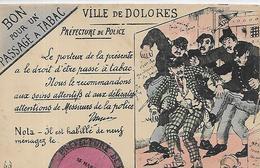 Thèmes, HUMOUR, Ville De Dolorès, Bon Pour Un Passage à Tabac, Préfectire De Po Animations, Couleurs, Scan Recto-Verso - Humour