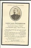 """Faire Part De Décès De """"L ABBE LOUIS DUCAROUGE """"SOUS LIEUTENANT DU 416° D INFANTERIE TOMBE POUR LA FRANCE EN 1916 - Obituary Notices"""