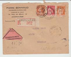 FRANCE 1937: BEL AFFRANCHISSEMENT Au Tarif / LR D'Angoulème Pour Bergerac TB - Marcophilie (Lettres)