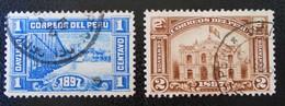 NOUVEL HOTEL DES POSTES DE LIMA 1897 - OBLITERES - YT 120/21 - MI 112/13 - Peru