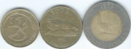 Finland - 1 Markka - 1994 (KM76) 5 Markkaa - 1993 (KM73) & 10 Markkaa - 1993 (KM77) - Finlandia