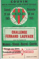 Programme COUVIN - CHALLENGE FERNAND LAUVAUX 1965 / Football / NISMES - VIREUX - ROCROI - COUVIN - Programmes