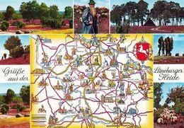 1 Map Of Germany * 1 Ansichtskarte Mit Der Landkarte - Lüneburger Heide - Krüger Karte * - Maps