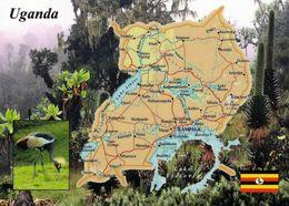 1 Map Of Uganda * 1 Ansichtskarte Mit Der Landkarte Von Uganda * - Maps