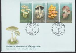 Kirgistan Kyrgyzstan MNH** 2019  Poisonous Mushrooms Of Kyrgyzstan  Mi 121-124 FDC M - Pilze