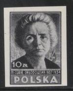 POLAND 1946 POLISH CULTURE BLACK PRINT MARIE CURIE MNH Nobel Prize Scientist France Chemistry Science - 1944-.... Republic