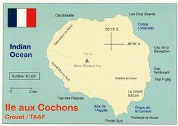 1 Map Of Ile Aux Cochons * Landkarte Der Insel Cochons, Die Insel Gehört Zu Den Crozet Inseln TAAF - Insel Im Ind. Ozean - Maps