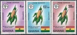 1971 GHANA 406-08** FAO, Faim, Maïs, Drapeau - Ghana (1957-...)