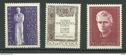 POLAND MNH ** 1633-1635 NAISSANCE DE MARIE MARIA SKLODOWSKA CURIE. PRIX NOBEL - 1944-.... Republic