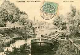 AUXONNE - Port De La Scierie Beau Plan Sur La Péniche Clocher église Derrière - Auxonne