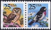 United States 1988 - Mi 1980Dr.1981Dl - YT 1813/14 ( Birds : Owl And Hawfinch ) - Stati Uniti