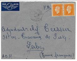 GUINEE 1946-lettre En F.M. De ST PONS (hérault) Surtaxe Aérienne 10 F(2 Timbres N°697) Pour LABE  .A.O.F.  2scans - Marcophilie (Lettres)