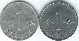 Finland - 1 Markka - 1952 - Iron Coin (KM36) & Nickel-plated Iron Coin - 1955 (KM36a) - Finland
