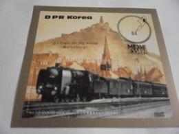 Miniature Sheet Perf D Train On The Rhine Marksburg - Korea, North