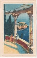 2 CPA Dessinées De: Monaco   Le Musée Océanographique (ed Robaudy)  Vue Des Jardins Exotiques (Yvon 131) - Monte-Carlo