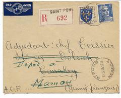 GUINEE  1946-lettre REC. SAINT PONS Par AVION Pour CONAKRY -GUINEE- Dépot à MAMOU- Gros Cachet ST PONS HERAULT - Marcophilie (Lettres)
