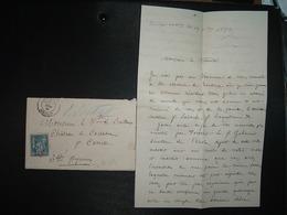 LETTRE MIGNONNETTE TP SAGE 15 OBL.27 NOV 84 BORDEAUX GIRONDE (33) VICOMTE DE BAILLEUX CHATEAU DE CASSABER Par CARRESSSE - Marcophilie (Lettres)