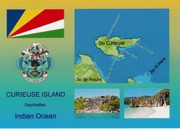 1 AK Seychelles Island Curieuse * Flagge, Wappen Und 2 Ansichten Der Seychellen Und Die Landkarte Der Insel Curieuse * - Seychelles
