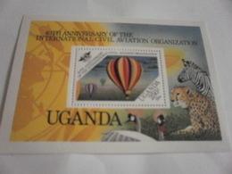 Miniature Sheet Perf 40th Anniversary Aviation - Uganda (1962-...)