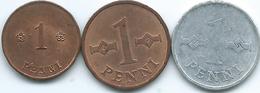 Finland - 1 Penni - 1919 (KM23) 1963 (KM44) & 1970 (KM44a) - Finland