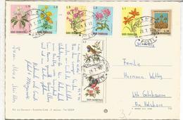 SAN MARINO TARJETA 1962 SELLOS FLORES FLOWER PAJARO BIRD - Otros