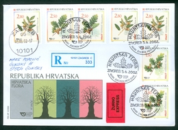 Croatia 2002 FDC Flora 3 Kind Of Oak Quercus Petraea Ilex Robur Wood Recommended Letter - Croatia