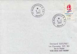 Enveloppe  FRANCE    JEUX  OLYMPIQUES  D'  HIVER    Oblitération  ALBERTVILLE   C.T.O    1992 - Invierno 1992: Albertville
