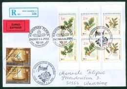 Croatia 2002 FDC Flora 3 Kind Of Oak Quercus Petraea Ilex Robur Wood Stamps From Booklet Recommended Letter Cover - Croatia